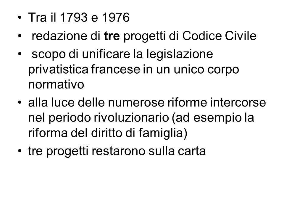 Tra il 1793 e 1976 redazione di tre progetti di Codice Civile scopo di unificare la legislazione privatistica francese in un unico corpo normativo all