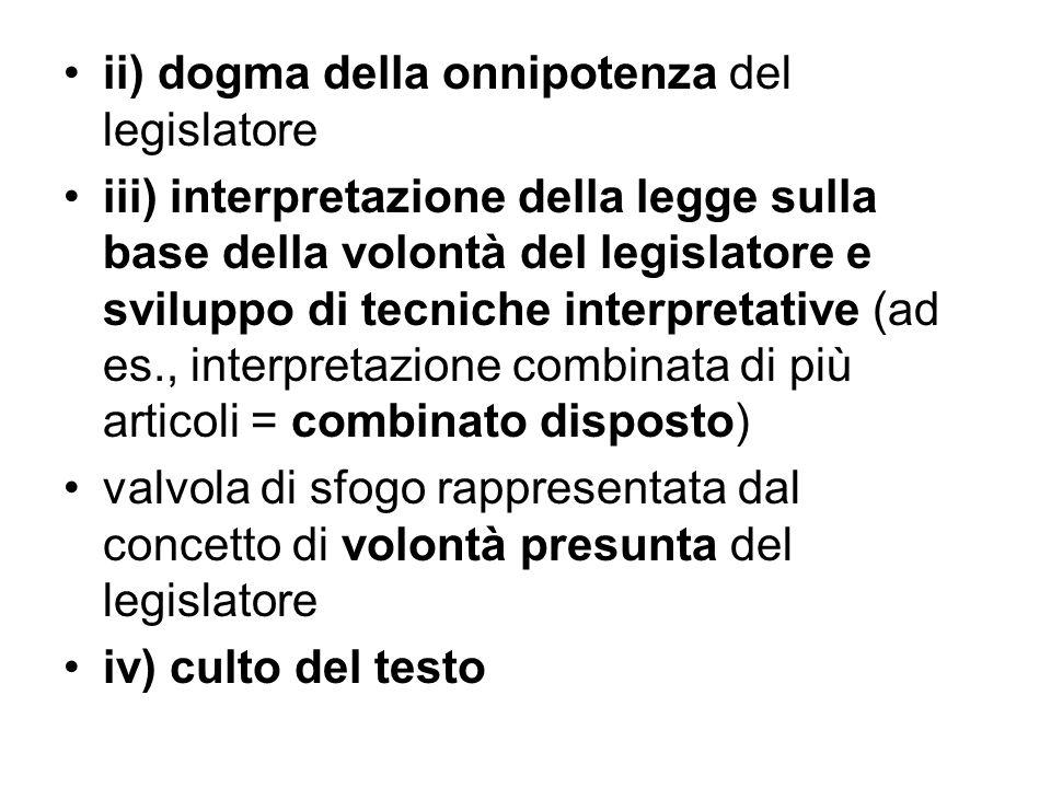 ii) dogma della onnipotenza del legislatore iii) interpretazione della legge sulla base della volontà del legislatore e sviluppo di tecniche interpret