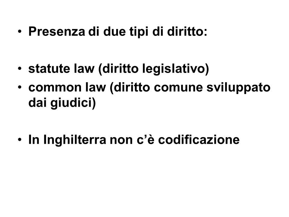 Presenza di due tipi di diritto: statute law (diritto legislativo) common law (diritto comune sviluppato dai giudici) In Inghilterra non c'è codificaz