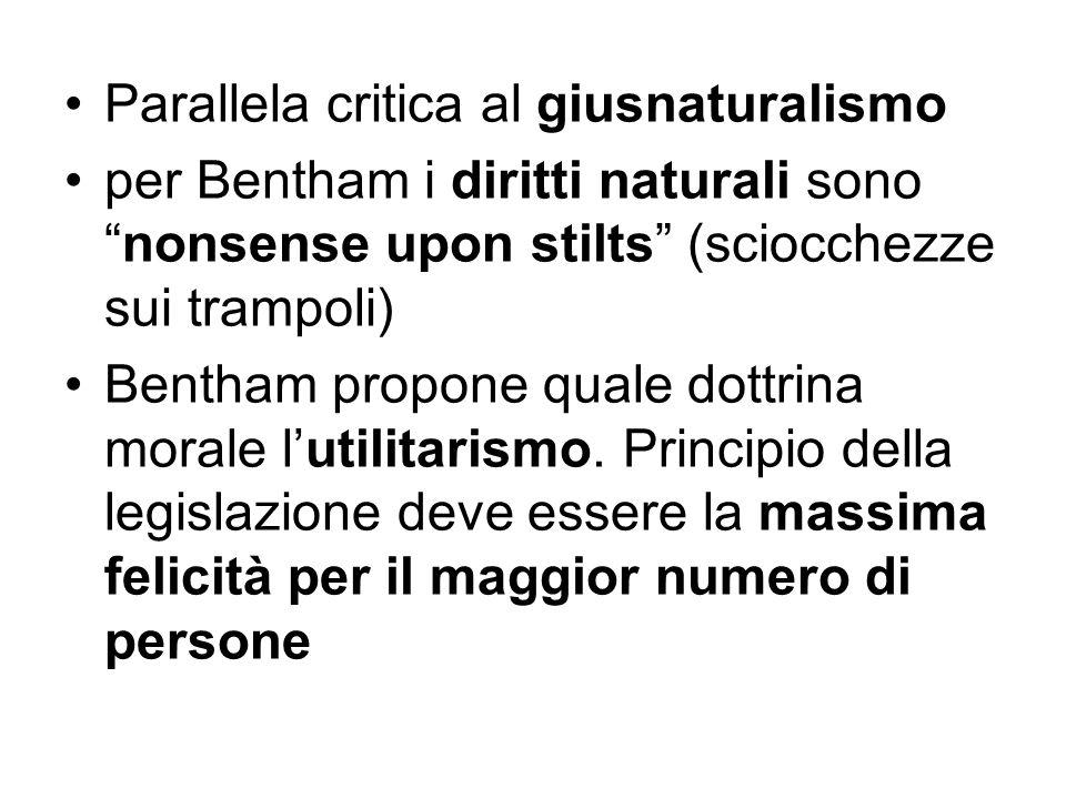 """Parallela critica al giusnaturalismo per Bentham i diritti naturali sono """"nonsense upon stilts"""" (sciocchezze sui trampoli) Bentham propone quale dottr"""