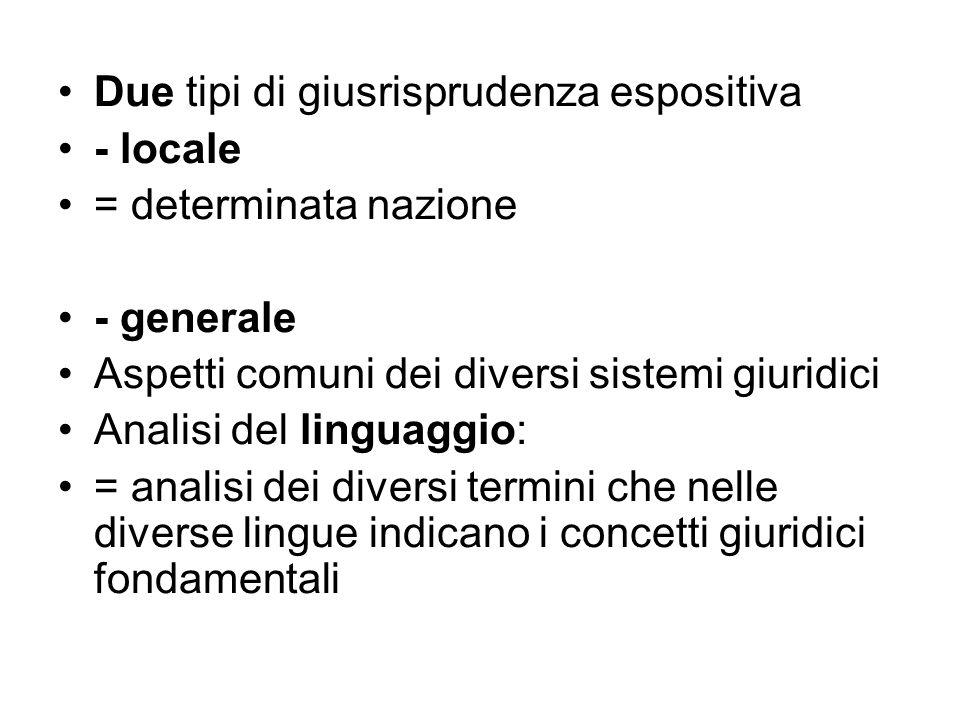 Due tipi di giusrisprudenza espositiva - locale = determinata nazione - generale Aspetti comuni dei diversi sistemi giuridici Analisi del linguaggio: