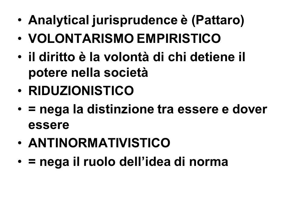 Analytical jurisprudence è (Pattaro) VOLONTARISMO EMPIRISTICO il diritto è la volontà di chi detiene il potere nella società RIDUZIONISTICO = nega la