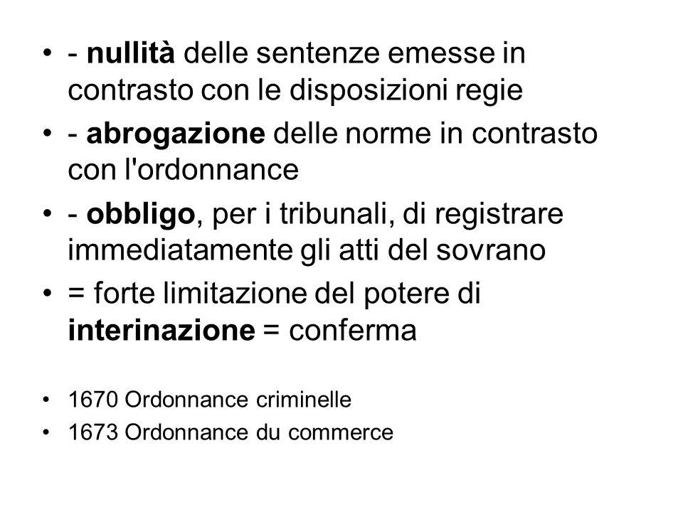 - nullità delle sentenze emesse in contrasto con le disposizioni regie - abrogazione delle norme in contrasto con l'ordonnance - obbligo, per i tribun