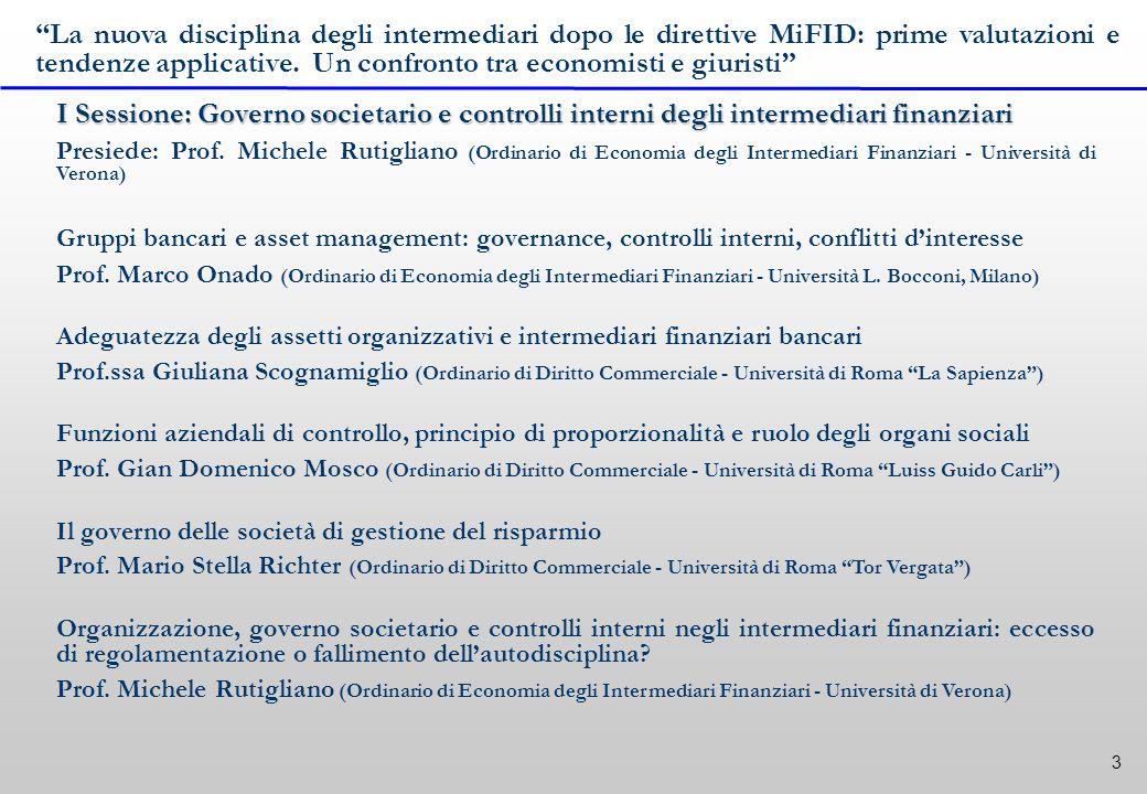 3 I Sessione: Governo societario e controlli interni degli intermediari finanziari Presiede: Prof.