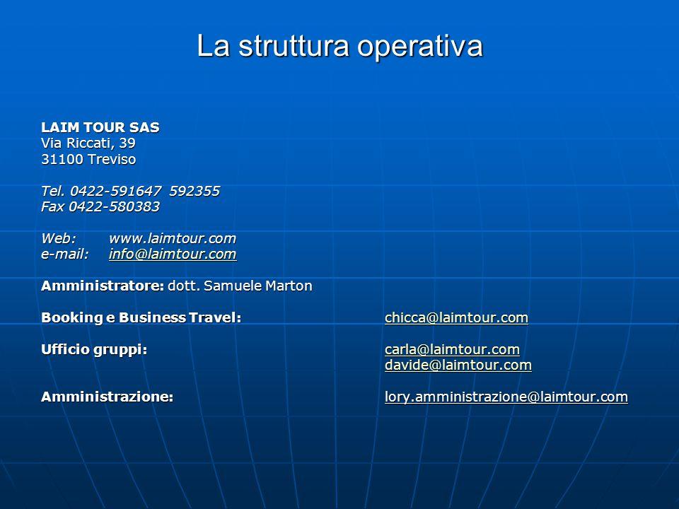 La struttura operativa LAIM TOUR SAS Via Riccati, 39 31100 Treviso Tel. 0422-591647 592355 Fax 0422-580383 Web:www.laimtour.com e-mail:info@laimtour.c