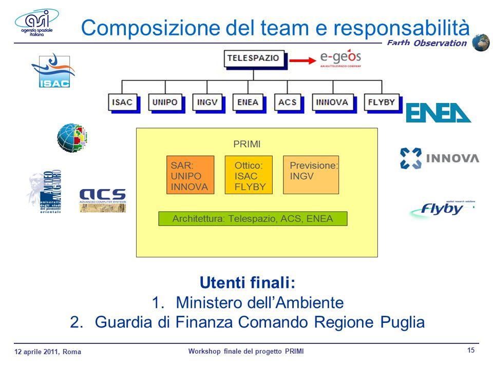 12 aprile 2011, Roma Workshop finale del progetto PRIMI 15 Earth Observation Composizione del team e responsabilità Utenti finali: 1.Ministero dell'Ambiente 2.Guardia di Finanza Comando Regione Puglia