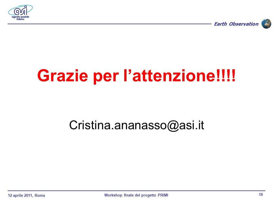 12 aprile 2011, Roma Workshop finale del progetto PRIMI 18 Earth Observation Grazie per l'attenzione!!!.