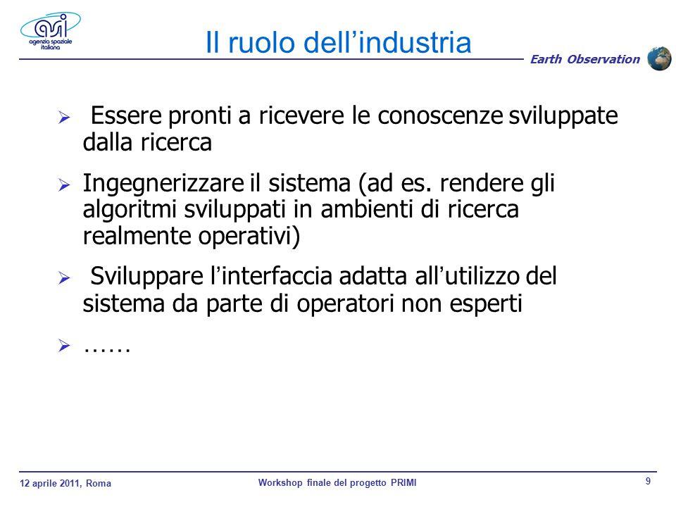 12 aprile 2011, Roma Workshop finale del progetto PRIMI 9 Earth Observation  Essere pronti a ricevere le conoscenze sviluppate dalla ricerca  Ingegnerizzare il sistema (ad es.
