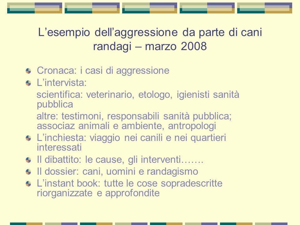 L'esempio dell'aggressione da parte di cani randagi – marzo 2008 Cronaca: i casi di aggressione L'intervista: scientifica: veterinario, etologo, igien