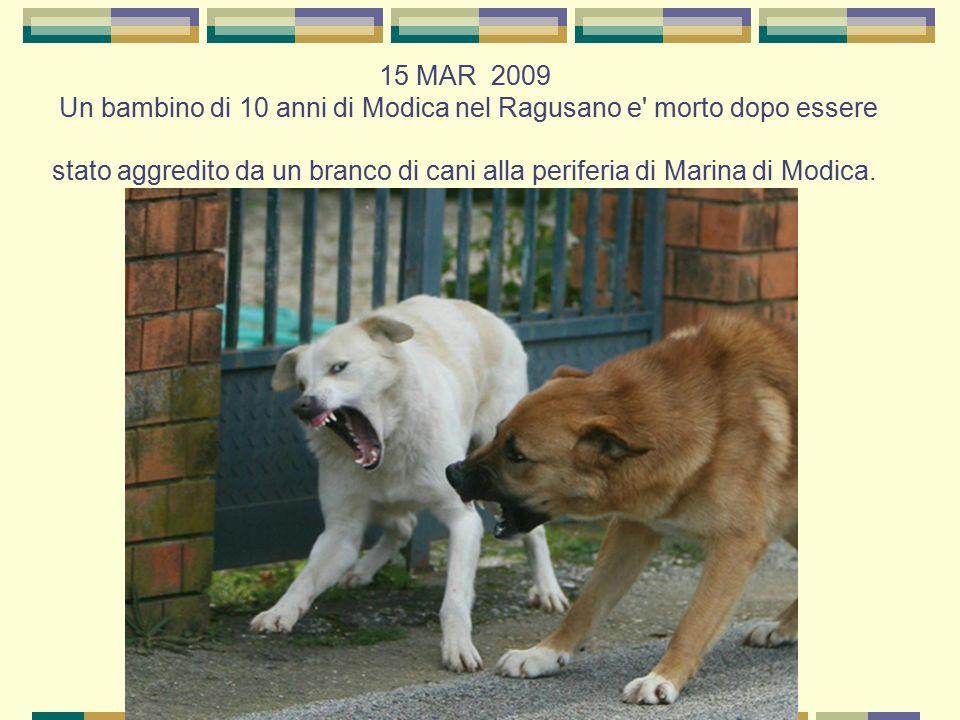 15 MAR 2009 Un bambino di 10 anni di Modica nel Ragusano e' morto dopo essere stato aggredito da un branco di cani alla periferia di Marina di Modica.