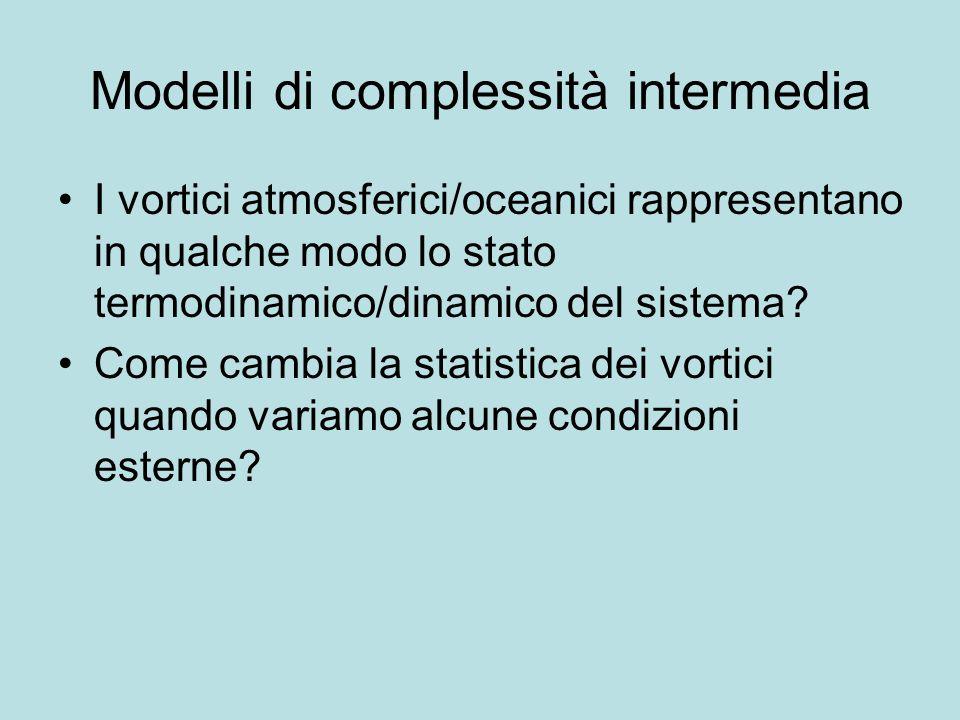 Modelli di complessità intermedia I vortici atmosferici/oceanici rappresentano in qualche modo lo stato termodinamico/dinamico del sistema? Come cambi