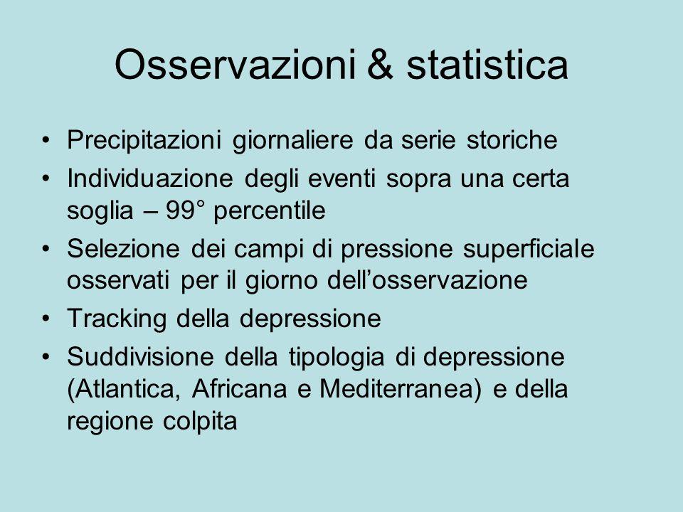 Osservazioni & statistica Precipitazioni giornaliere da serie storiche Individuazione degli eventi sopra una certa soglia – 99° percentile Selezione d