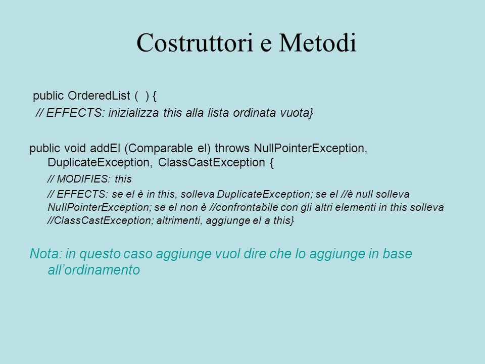 Costruttori e Metodi public OrderedList ( ) { // EFFECTS: inizializza this alla lista ordinata vuota} public void addEl (Comparable el) throws NullPoi
