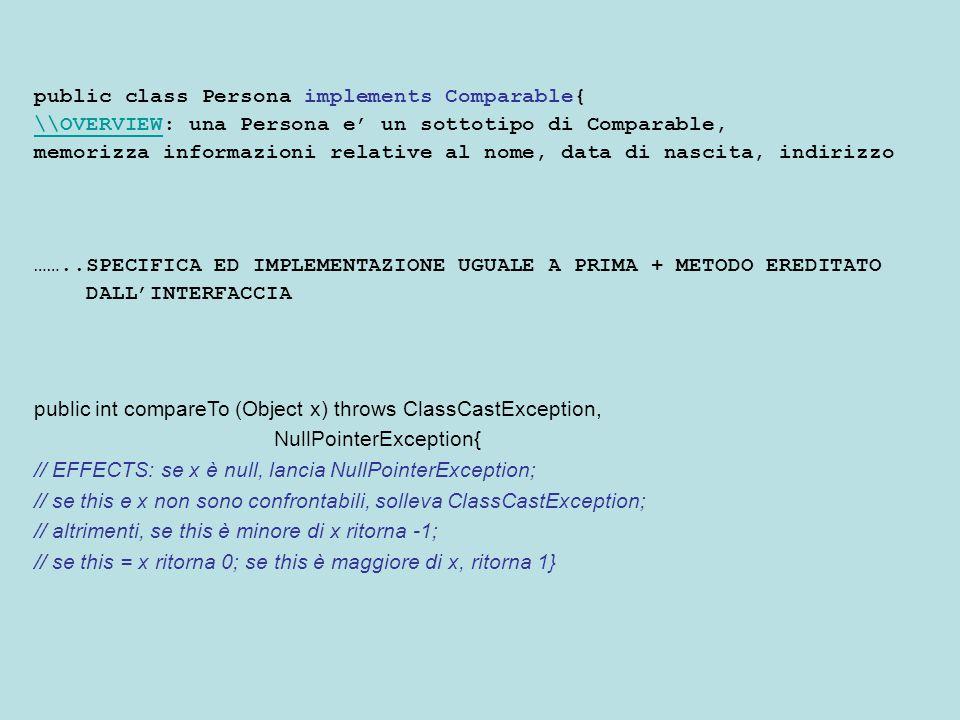 public class Persona implements Comparable{ \\OVERVIEW\\OVERVIEW: una Persona e' un sottotipo di Comparable, memorizza informazioni relative al nome, data di nascita, indirizzo ……..SPECIFICA ED IMPLEMENTAZIONE UGUALE A PRIMA + METODO EREDITATO DALL'INTERFACCIA public int compareTo (Object x) throws ClassCastException, NullPointerException{ // EFFECTS: se x è null, lancia NullPointerException; // se this e x non sono confrontabili, solleva ClassCastException; // altrimenti, se this è minore di x ritorna -1; // se this = x ritorna 0; se this è maggiore di x, ritorna 1}