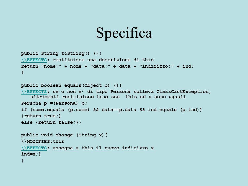 Uso di Comparable Facciamo una lista ordinata generica ed omogenea usando Comparable Gli elementi della lista sono di tipo Comparable (invece che Integer o String etc…) Il confronto e' fatto in modo generico usando compareTo Questo permette di usare la lista per memorizzare qualsiasi sottotipo di Comparable Verra' scelto l'ordinamento giusto in base al tipo degli elementi