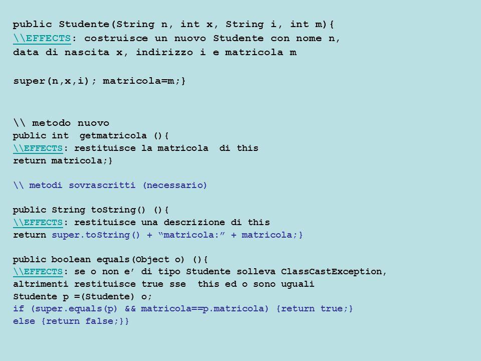 In Java Non esistono meccanismi diretti per fare il polimorfismo Si puo' ottenere usando varie tecniche Oggi ne vedremo una che e' basata sull'idea di usare l'ereditarieta' ovvero i sottotipi per realizzare una lista polimorfa In particolare vedremo come le interfacce possano essere usate per realizzare una forma di lista generica ordinata