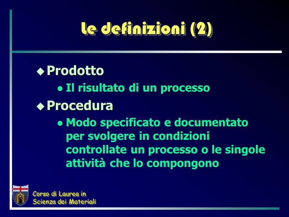 Corso di Laurea in Scienza dei Materiali Le definizioni (2)  Prodotto Il risultato di un processo  Procedura Modo specificato e documentato per svolgere in condizioni controllate un processo o le singole attività che lo compongono