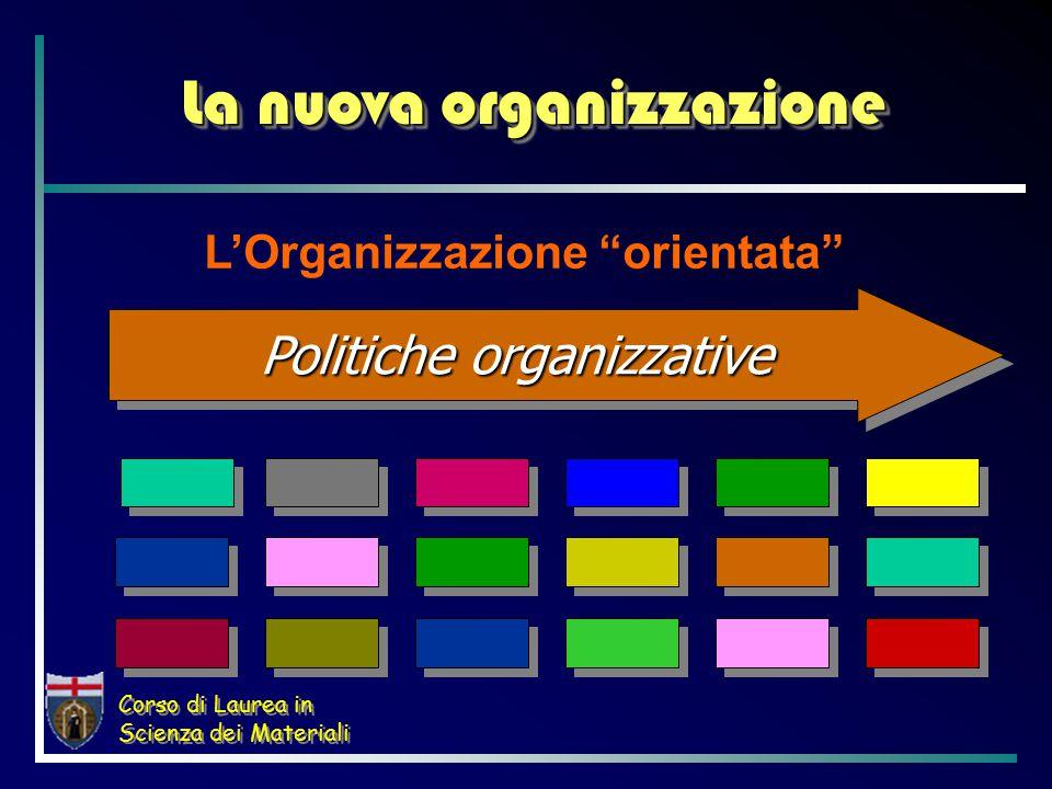 Corso di Laurea in Scienza dei Materiali La nuova organizzazione L'Organizzazione orientata Politiche organizzative