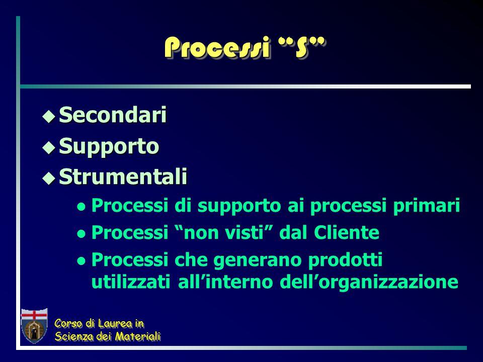 Corso di Laurea in Scienza dei Materiali Processi S  Secondari  Supporto  Strumentali Processi di supporto ai processi primari Processi non visti dal Cliente Processi che generano prodotti utilizzati all'interno dell'organizzazione