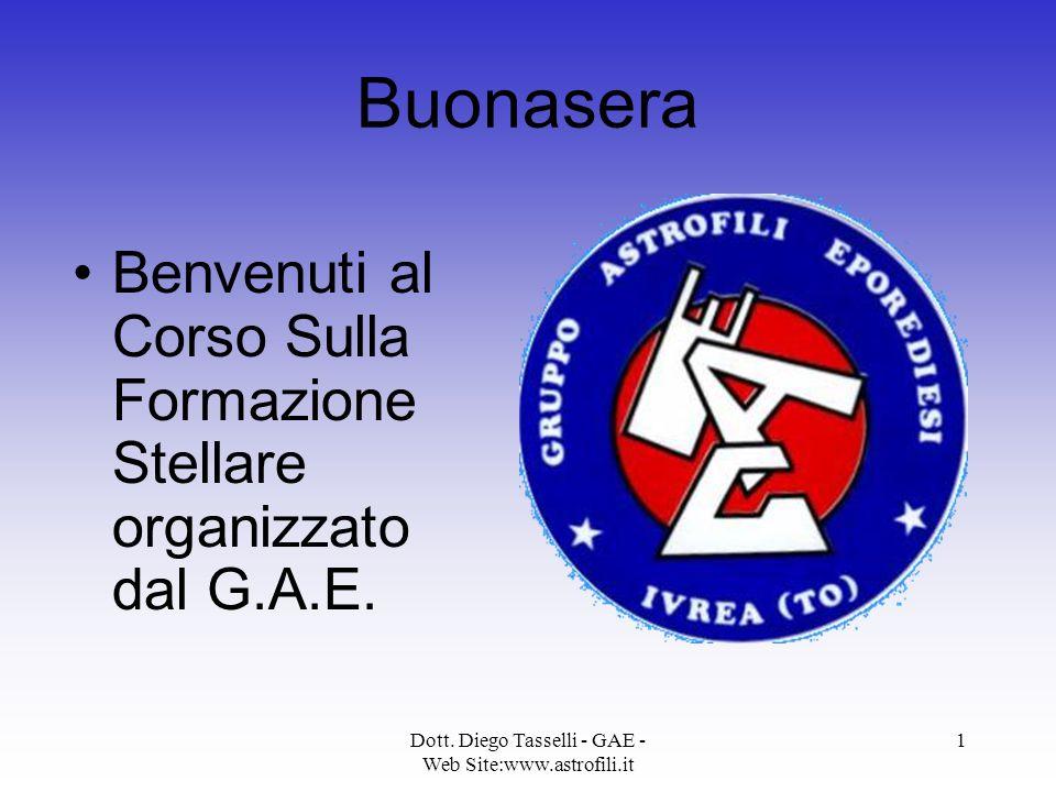 Dott. Diego Tasselli - GAE - Web Site:www.astrofili.it 1 Buonasera Benvenuti al Corso Sulla Formazione Stellare organizzato dal G.A.E.