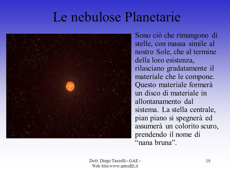 Dott. Diego Tasselli - GAE - Web Site:www.astrofili.it 19 Le nebulose Planetarie Sono ciò che rimangono di stelle, con massa simile al nostro Sole, ch