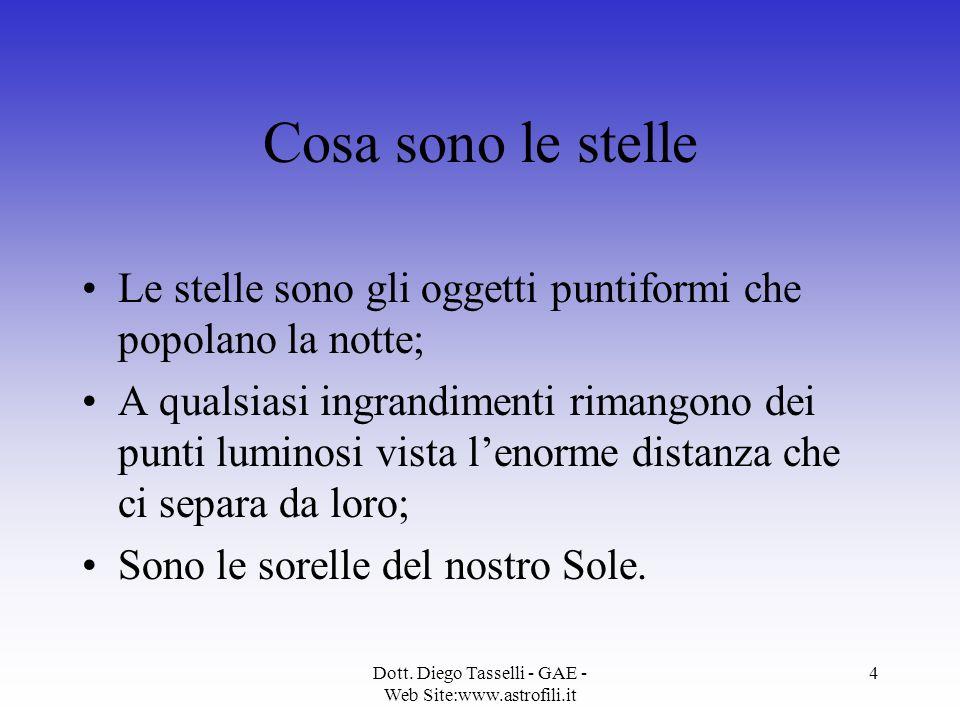 Dott. Diego Tasselli - GAE - Web Site:www.astrofili.it 4 Cosa sono le stelle Le stelle sono gli oggetti puntiformi che popolano la notte; A qualsiasi