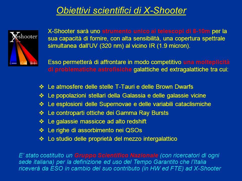 Obiettivi scientifici di X-Shooter X-Shooter sarà uno strumento unico ai telescopi di 8-10m per la sua capacità di fornire, con alta sensibilità, una copertura spettrale simultanea dall'UV (320 nm) al vicino IR (1.9 micron).