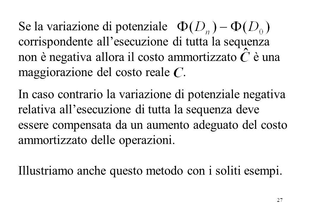 27 Se la variazione di potenziale corrispondente all'esecuzione di tutta la sequenza non è negativa allora il costo ammortizzato è una maggiorazione del costo reale.