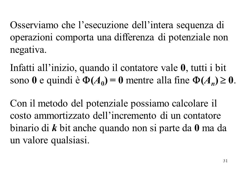 31 Osserviamo che l'esecuzione dell'intera sequenza di operazioni comporta una differenza di potenziale non negativa.