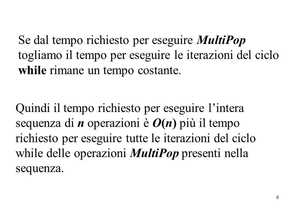 6 Se dal tempo richiesto per eseguire MultiPop togliamo il tempo per eseguire le iterazioni del ciclo while rimane un tempo costante.