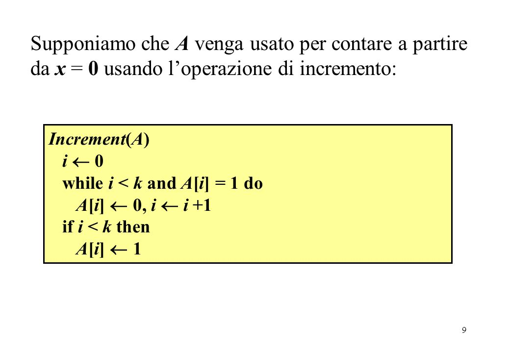 9 Increment(A) i  0 while i < k and A[i] = 1 do A[i]  0, i  i +1 if i < k then A[i]  1 Supponiamo che A venga usato per contare a partire da x = 0 usando l'operazione di incremento: