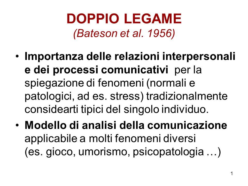 1 DOPPIO LEGAME (Bateson et al. 1956) Importanza delle relazioni interpersonali e dei processi comunicativi per la spiegazione di fenomeni (normali e