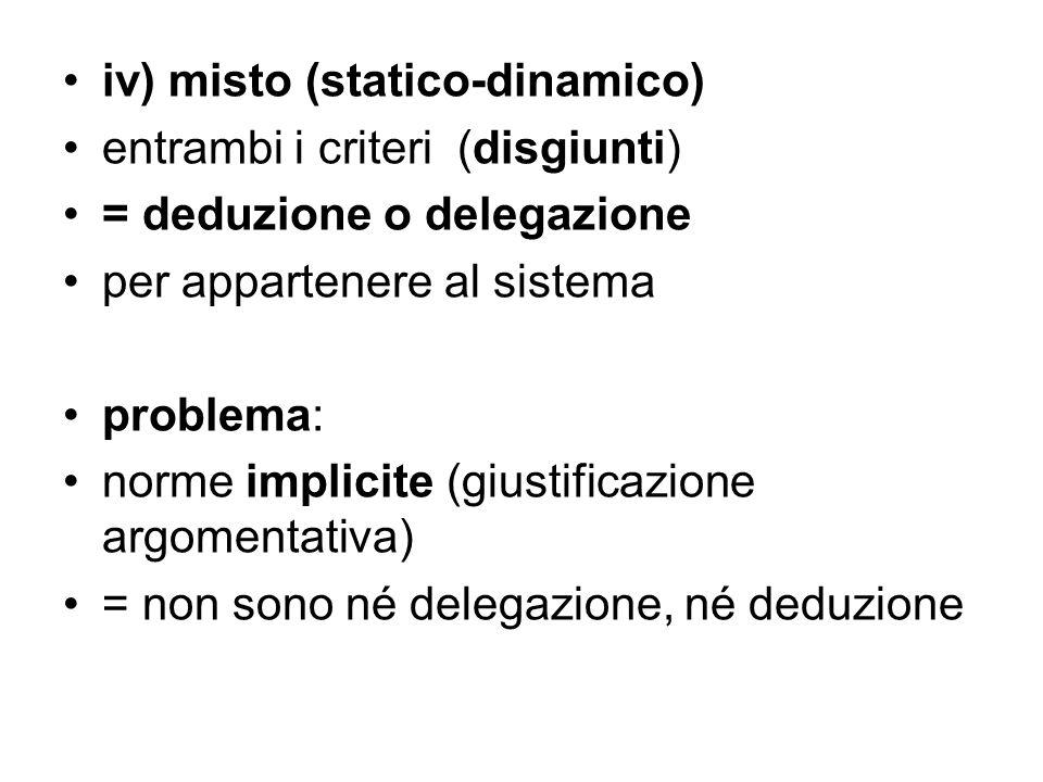 iv) misto (statico-dinamico) entrambi i criteri (disgiunti) = deduzione o delegazione per appartenere al sistema problema: norme implicite (giustifica