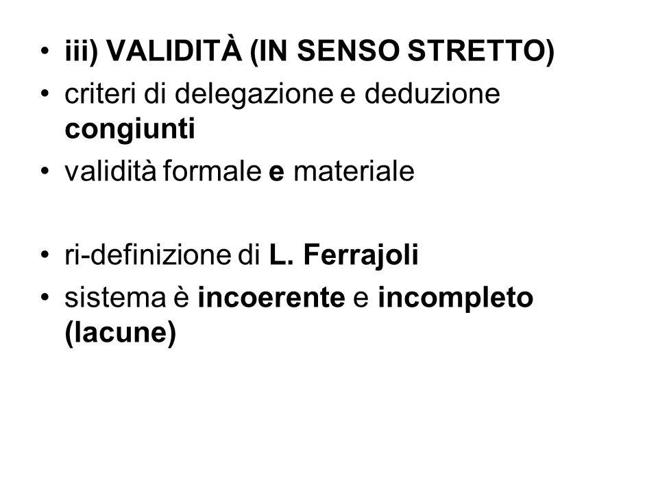 iii) VALIDITÀ (IN SENSO STRETTO) criteri di delegazione e deduzione congiunti validità formale e materiale ri-definizione di L. Ferrajoli sistema è in