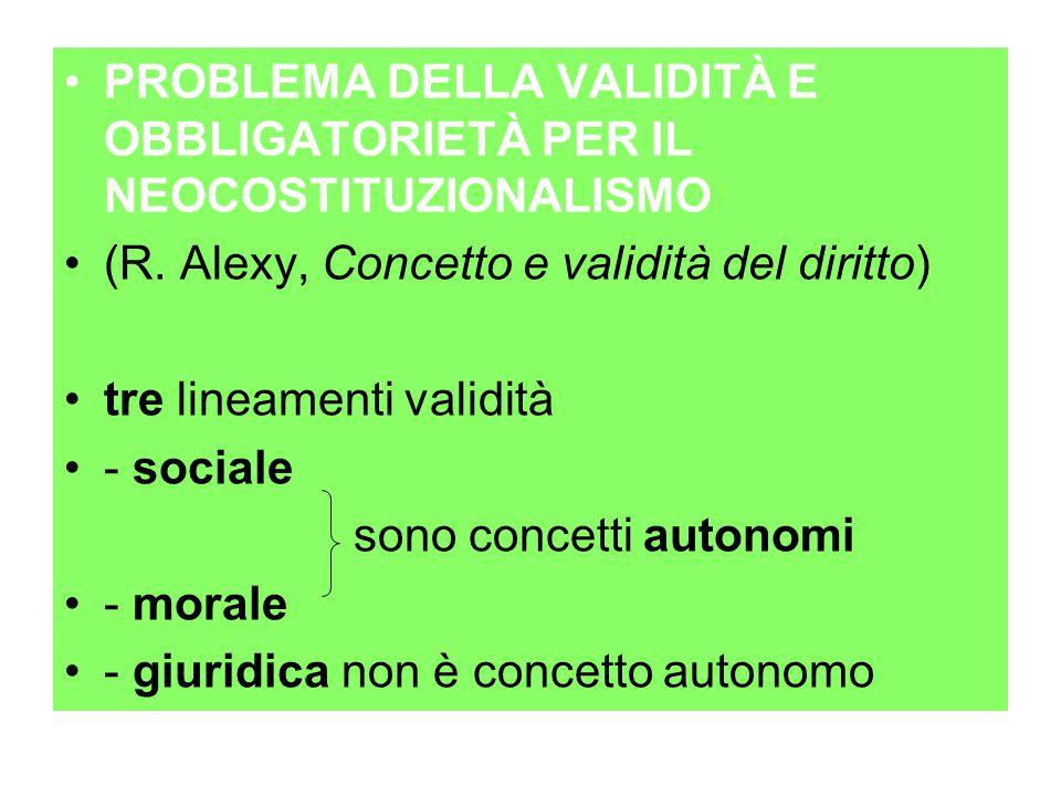 PROBLEMA DELLA VALIDITÀ E OBBLIGATORIETÀ PER IL NEOCOSTITUZIONALISMO (R. Alexy, Concetto e validità del diritto) tre lineamenti validità - sociale son
