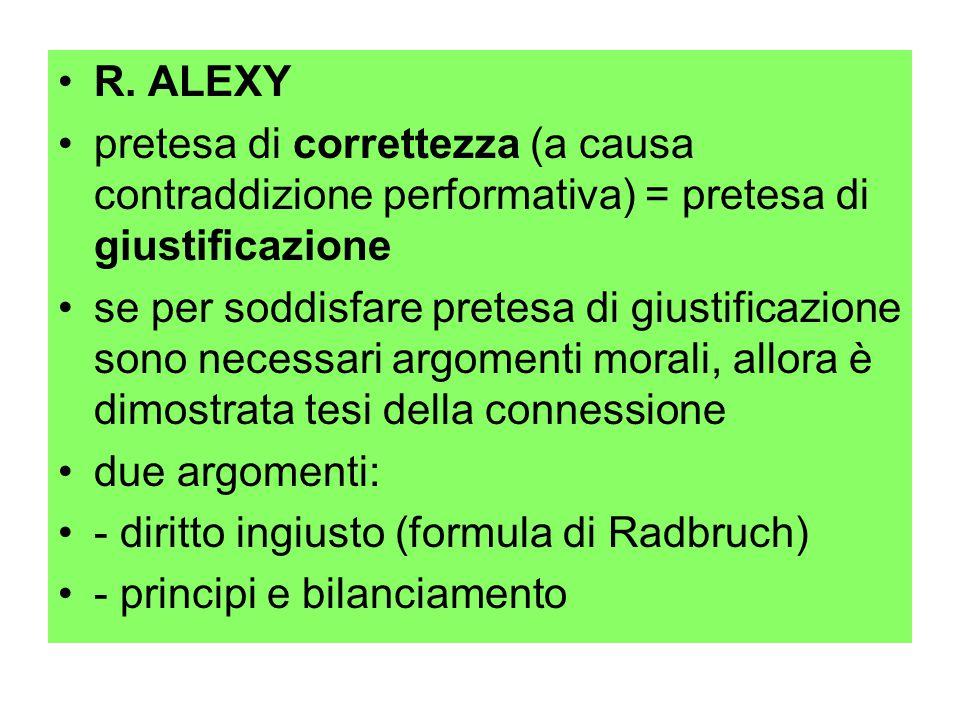 R. ALEXY pretesa di correttezza (a causa contraddizione performativa) = pretesa di giustificazione se per soddisfare pretesa di giustificazione sono n