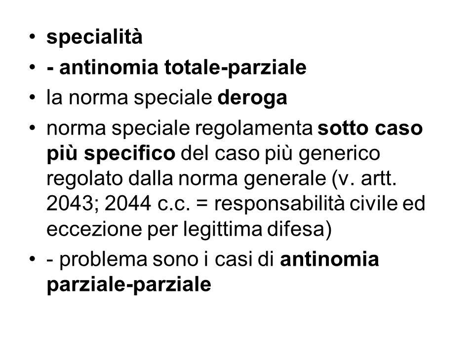 specialità - antinomia totale-parziale la norma speciale deroga norma speciale regolamenta sotto caso più specifico del caso più generico regolato dal