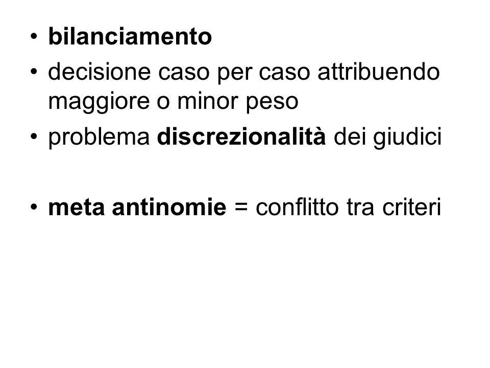 bilanciamento decisione caso per caso attribuendo maggiore o minor peso problema discrezionalità dei giudici meta antinomie = conflitto tra criteri
