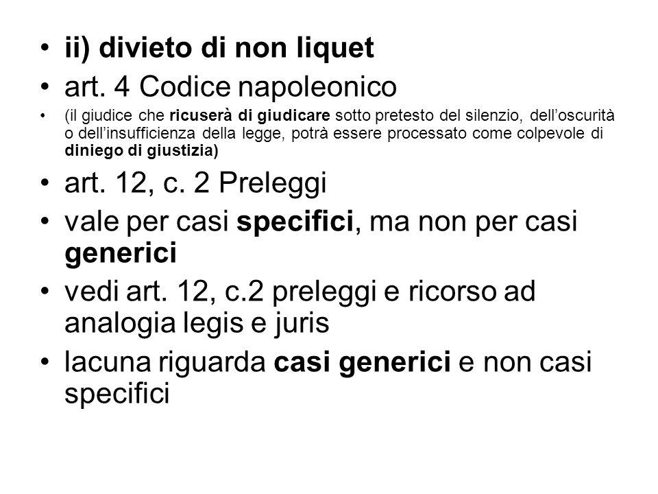 ii) divieto di non liquet art. 4 Codice napoleonico (il giudice che ricuserà di giudicare sotto pretesto del silenzio, dell'oscurità o dell'insufficie