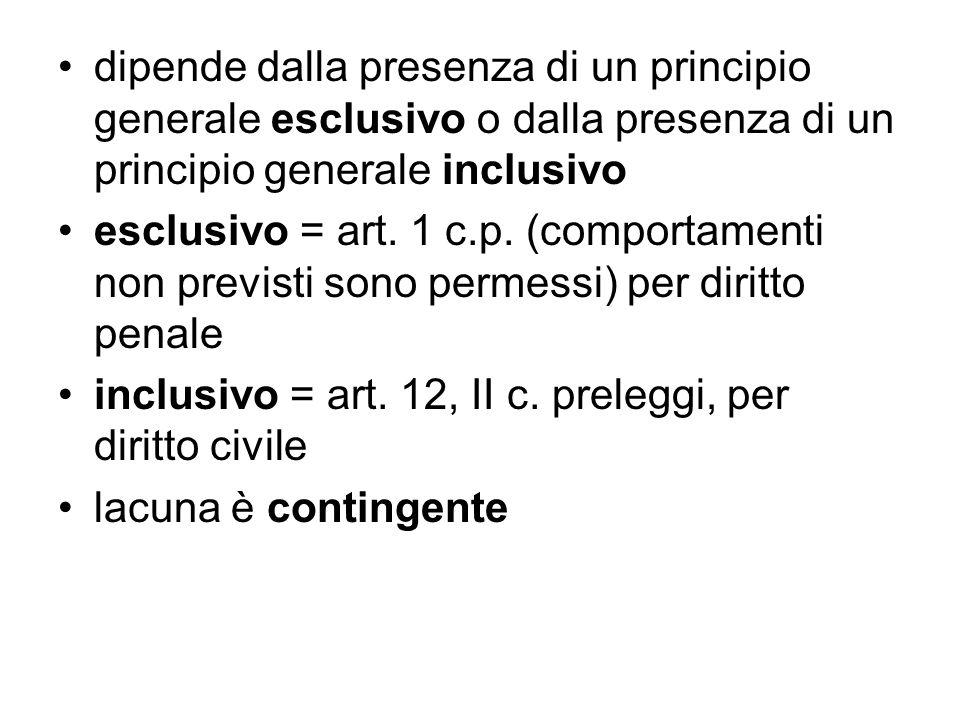 dipende dalla presenza di un principio generale esclusivo o dalla presenza di un principio generale inclusivo esclusivo = art. 1 c.p. (comportamenti n