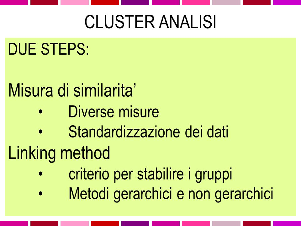 DUE STEPS: Misura di similarita' Diverse misure Standardizzazione dei dati Linking method criterio per stabilire i gruppi Metodi gerarchici e non gera