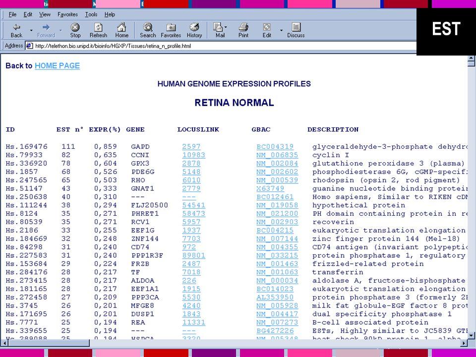 SAGE Serial Analysis of Gene Expression SAGE è un metodo sperimentale ideato per utilizzare i vantaggi del sequenziamento su larga scala per avere informazioni quantitative di espressione genica (Velculescu et al.