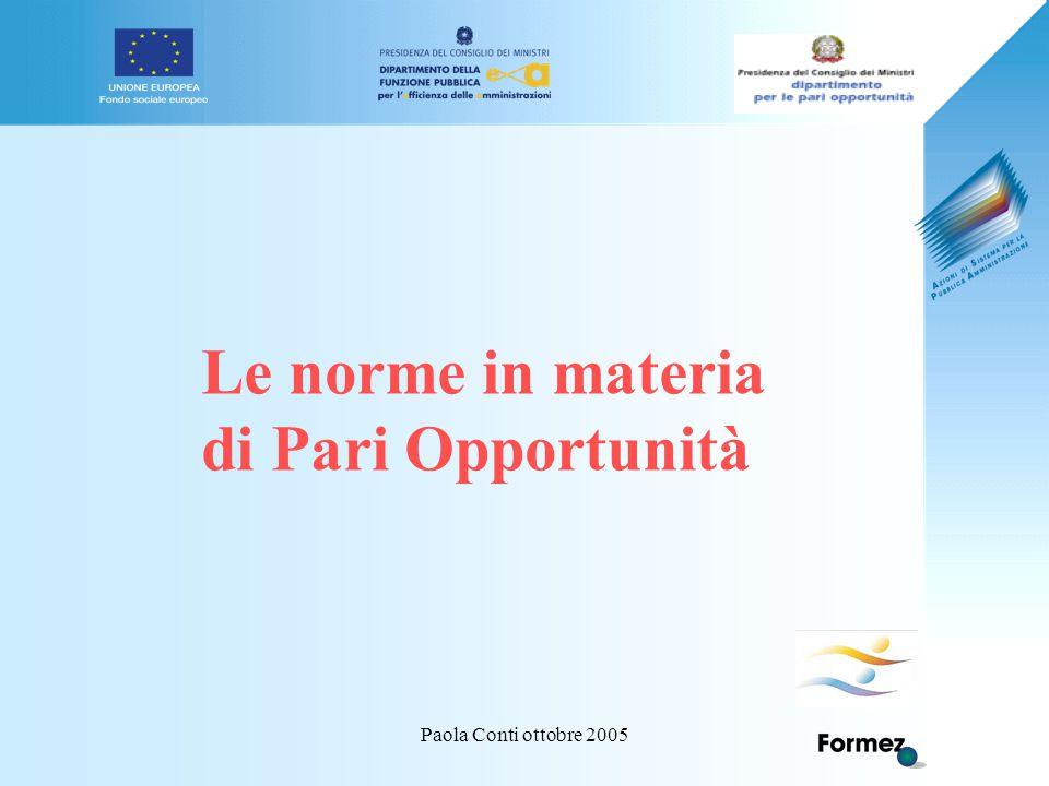 Paola Conti ottobre 2005 Le norme in materia di Pari Opportunità