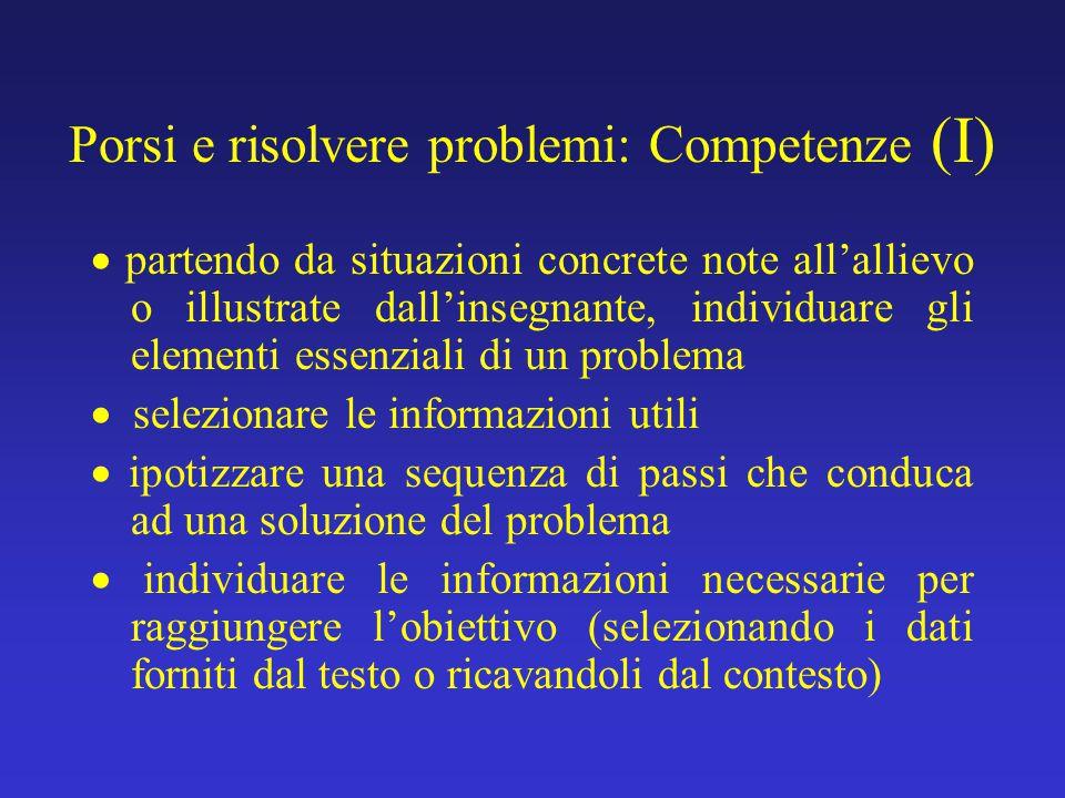 Porsi e risolvere problemi: Competenze (I)  partendo da situazioni concrete note all'allievo o illustrate dall'insegnante, individuare gli elementi e