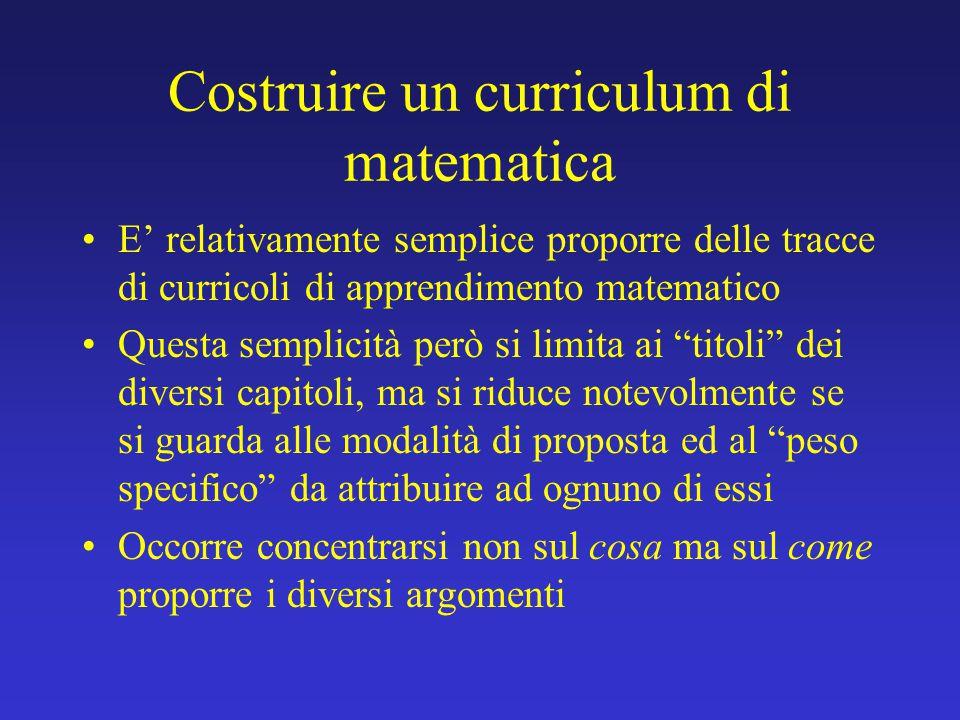 Costruire un curriculum di matematica E' relativamente semplice proporre delle tracce di curricoli di apprendimento matematico Questa semplicità però