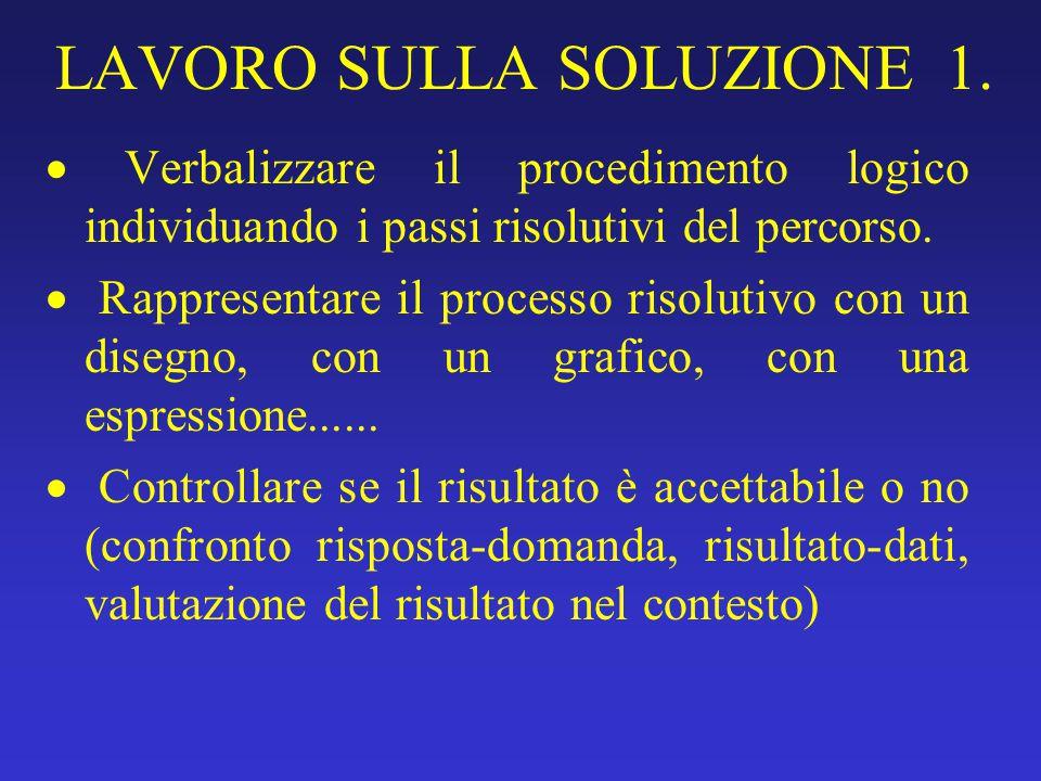 LAVORO SULLA SOLUZIONE 1.  Verbalizzare il procedimento logico individuando i passi risolutivi del percorso.  Rappresentare il processo risolutivo