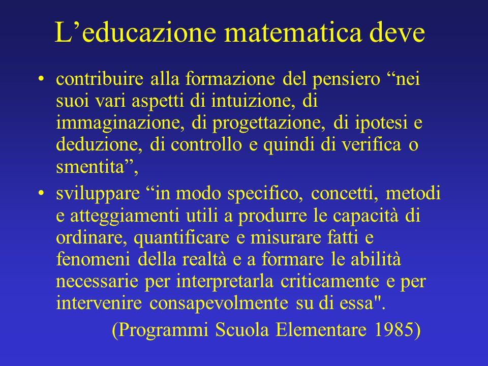 La formazione del curriculum scolastico non può prescindere dal considerare sia la funzione strumentale, sia quella culturale della matematica: strumento essenziale per una comprensione quantitativa della realtà da un lato, e dall altro sapere logicamente coerente e sistematico, caratterizzato da una forte unità culturale.
