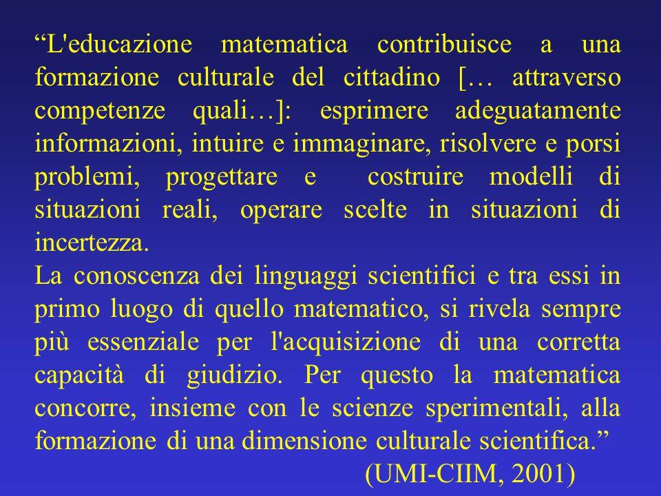 """""""L'educazione matematica contribuisce a una formazione culturale del cittadino [… attraverso competenze quali…]: esprimere adeguatamente informazioni,"""