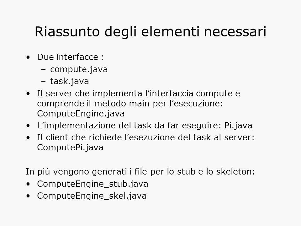 Riassunto degli elementi necessari Due interfacce : –compute.java –task.java Il server che implementa l'interfaccia compute e comprende il metodo main per l'esecuzione: ComputeEngine.java L'implementazione del task da far eseguire: Pi.java Il client che richiede l'esezuzione del task al server: ComputePi.java In più vengono generati i file per lo stub e lo skeleton: ComputeEngine_stub.java ComputeEngine_skel.java