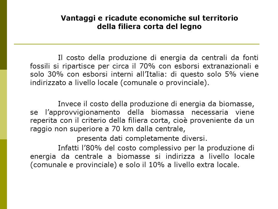 Vantaggi e ricadute economiche sul territorio della filiera corta del legno Il costo della produzione di energia da centrali da fonti fossili si ripartisce per circa il 70% con esborsi extranazionali e solo 30% con esborsi interni all'Italia: di questo solo 5% viene indirizzato a livello locale (comunale o provinciale).